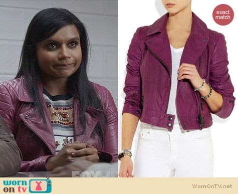 Burberry Leather Biker Jacket in Grape worn by Mindy Kaling on The Mindy Project