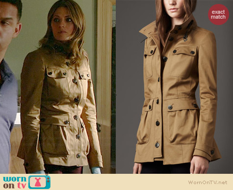 Burberry Leather Detail Field Jacket worn by Stana Katic on Castle