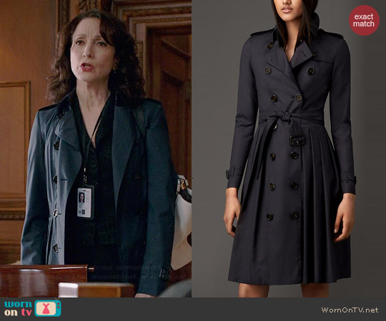 Burberry Long Full Skirted Wool Silk Trench Coat in Navy worn by Bebe Neuwirth on Madam Secretary