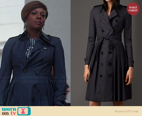 Burberry Long Full Skirted Wool Silk Trench worn by Viola Davis on HTGAWM