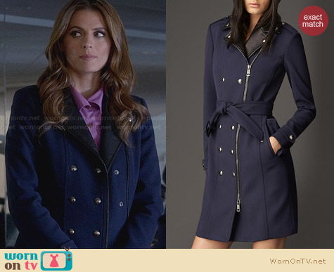 Burberry Mid-Length Biker Detail Jersey Trench Coat worn by Stana Katic on Castle