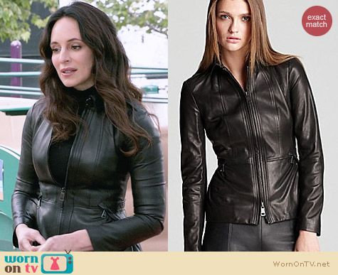 Burberry Nurton Leather Jacket worn by Madeleine Stowe on Revenge