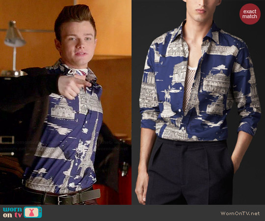 Burberry Paris Landmarks Shirt worn by Chris Colfer on Glee