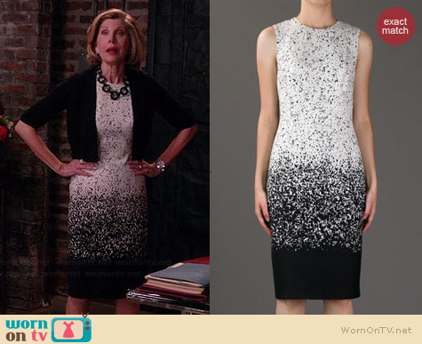 Burberry Prorsum Degrade Knit Dress worn by Christine Baranski on The Good Wife