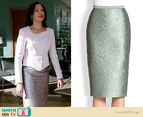 Burberry Prorsum Floral Jacquard Pencil Skirt worn by Gina Torres on Suits