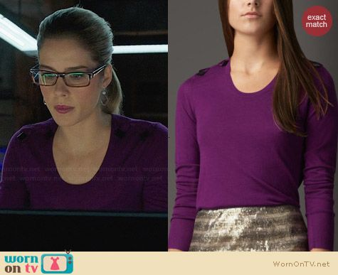 Burberry Bow Detail Merino Sweater worn by Emily Bett Rickards on Arrow