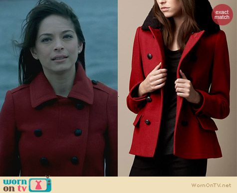 Burberry Red Pea Coat worn by Kristin Kreuk on Beauty and the Beast