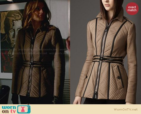 Burberry Ribbed Quilt Jacket worn by Stana Katic on Castle
