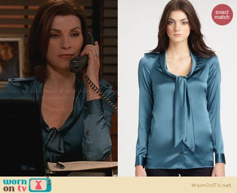 Burberry Petrol Satin Tie Blouse worn by Julianna Margulies on The Good Wife