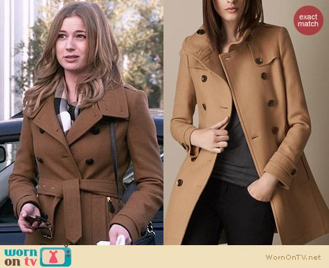 Burberry Short Double Wool Twill Trench Coat worn by Emily VanCamp on Revenge
