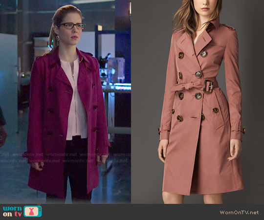 Burberry Showerproof Technical Trench worn by Emily Bett Rickards on Arrow