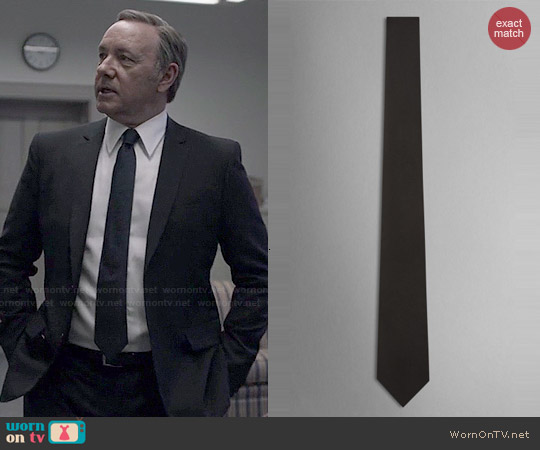 Burberry Silk Tie in Black worn by Kevin Spacey on House of Cards