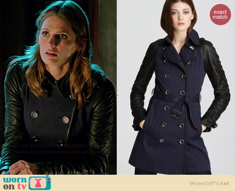 Burberry Somerby Mixed Leather Canvas Jacket worn by Stana Katic on Castle