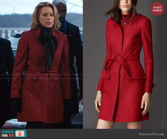 Burberry Structured Boiled Wool Coat worn by Téa Leoni on Madam Secretary