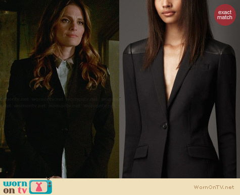 Burberry Tailored Leather Panel Jacket worn by Stana Katic on Castle