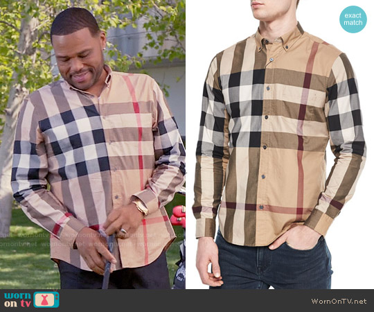 Burberry Woven Check Sport Shirt in Tan worn by Anthony Anderson on Blackish