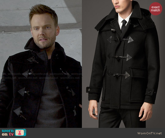 Burberry Wool Cashmere Duffle Coat with Detachable Hood worn by Joel McHale on Community