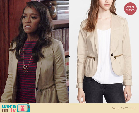 Burberry Zip Detail Stretch Cotton Jacket worn by Aja Naomi King on HTGAWM