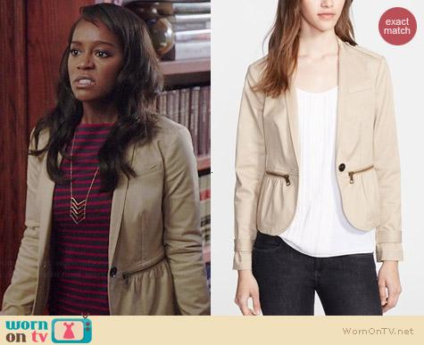 Burberry Zip Detail Stretch Cotton Jacket worn by Aja Naomi King on HTGAWM