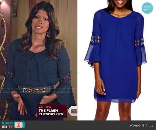 By & By Bell-Sleeve Crochet-Inset Chiffon Shift Dress worn by Andrea Navedo on Jane the Virgin