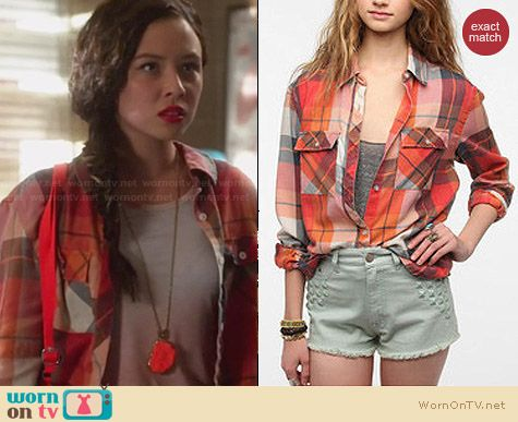 ByCorpus Burnout Plaid Shirt worn by Malese Jow on Star-Crossed
