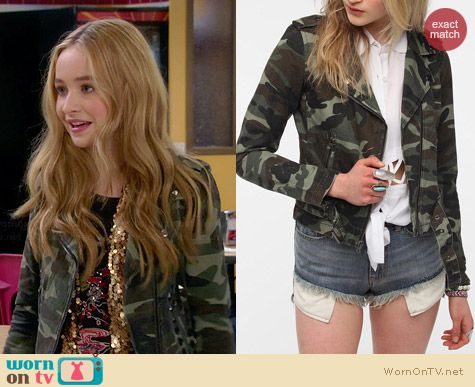 byCorpus Camo Moto Jacket worn by Sabrina Carpenter on Girl Meets World