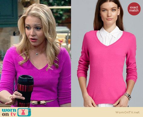 C by Bloomingdales Cashmere V-Neck Sweater in Deep Pink worn by Melissa Joan Hart on Melissa & Joey