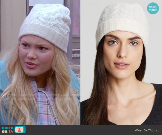 C by Bloomingdales Cashmere Cable Knit Hat worn by Olivia Holt on IDDI