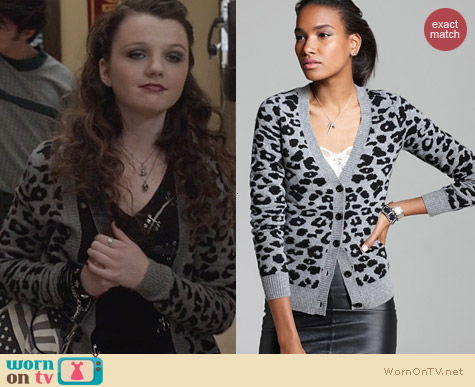 C By Bloomingdales Cashmere Leopard Cardigan worn by Stefania Owen on The Carrie Diaries
