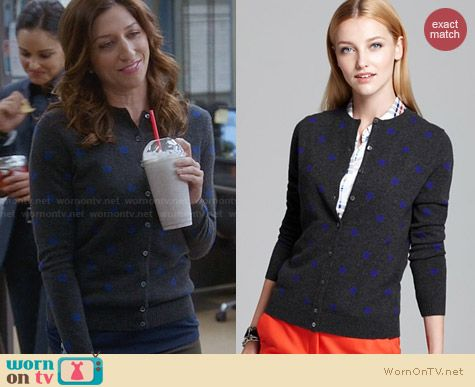 C By Bloomingdales Cashmere Polka Dot Cardigan worn by Chelsea Peretti on Brooklyn 99