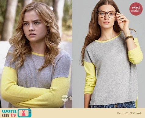 C By Bloomingdales Colorblock High Low Cashmere Sweater worn by Maddie Hasson on Twisted