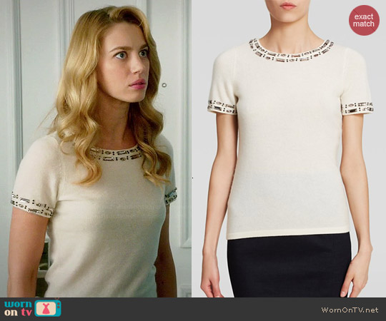 C by Bloomingdales Embellished Cashmere Sweater worn by Yael Grobglas on Jane the Virgin