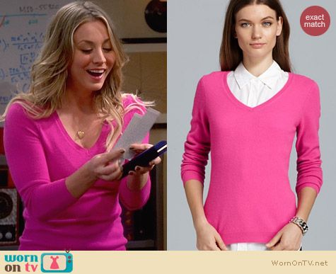 C by Bloomingdales Pink Cashmere V Neck Sweater worn by Kaley Cuoco on The Big Bang Theory