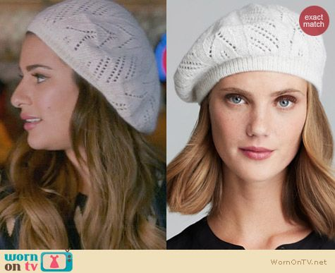 C by Bloomingdales Solid Cashmere Pointelle Beret worn by Lea Michele on Glee