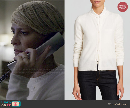 C by Bloomingdales Cashmere Cardigan in Winter White worn by Robin Wright on House of Cards