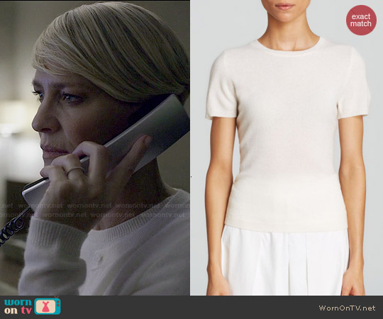 C by Bloomingdales Short Sleeve Cashmere Sweater in Winter White worn by Claire Underwood on House of Cards
