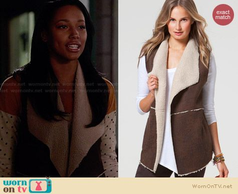 C&C California Distressed Faux Shearling Vest worn by Kylie Bunbury on Twisted