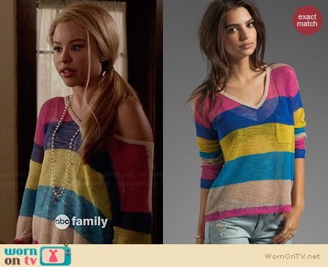 C&C California Linen Mesh Stripe Sweater worn by Cierra Ramirez on The Fosters