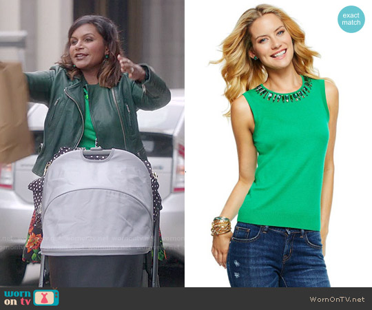 C Wonder Beaded Crewneck Sleeveless Sweater in Wheatgrass worn by Mindy Kaling on The Mindy Project