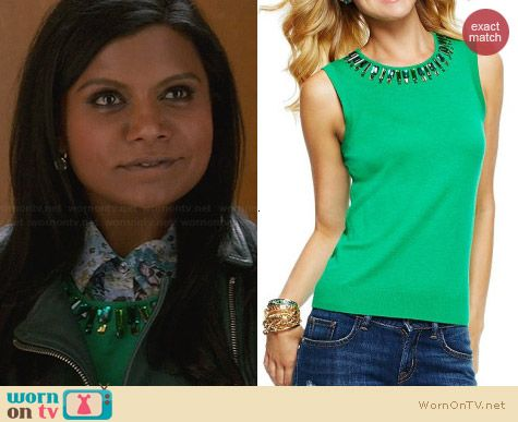 C Wonder Beaded Crewneck Sleeveless Sweater worn by Mindy Kaling on The Mindy Project