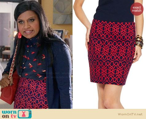 C Woner Graphic Geo Stretch Pique Skirt worn by Mindy Kaling on The Mindy Project
