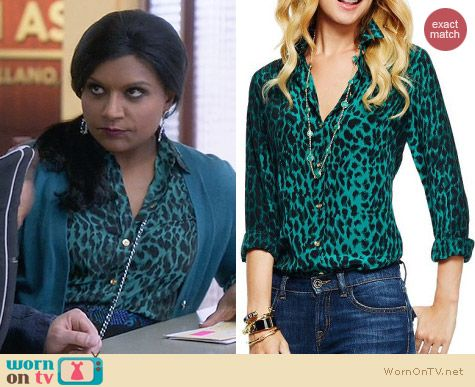 C Wonder Green Silk Leopard Print Shirt worn by Mindy Kaling on The Mindy Project