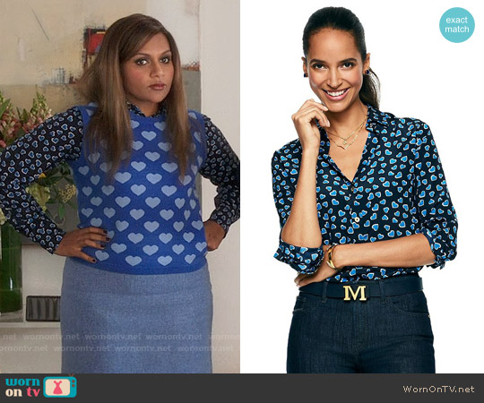 C Wonder Hearts Aflutter Silk Shirt worn by Mindy Kaling on The Mindy Project