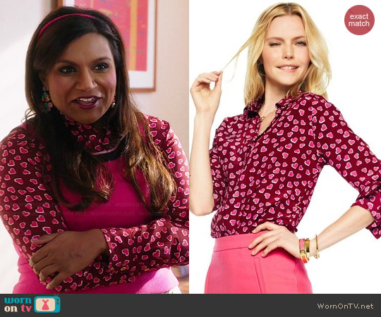C Wonder Hearts Aflutter Silk Shirt in Pink worn by Mindy Lahiri on The Mindy Project