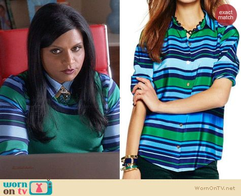 C Wonder Lagoon Multi Stripe Silk Shirt worn by Mindy Kaling on The Mindy Project