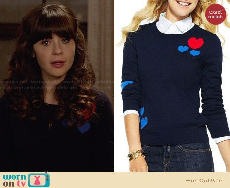 C Wonder Scattered Hearts Sweater worn by Zooey Deschanel on New Girl