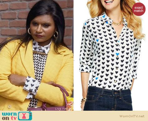 C Wonder Silk Hearts Aflutter Shirt worn by Mindy Kaling on The Mindy Project