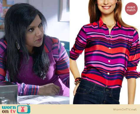 C Wonder Striped Silk Shirt in Rhubarb worn by Mindy Kaling on The Mindy Project