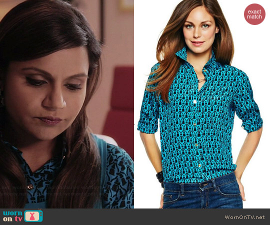 C Wonder Tassel Print Shirt in Lagoon worn by Mindy Kaling on The Mindy Project