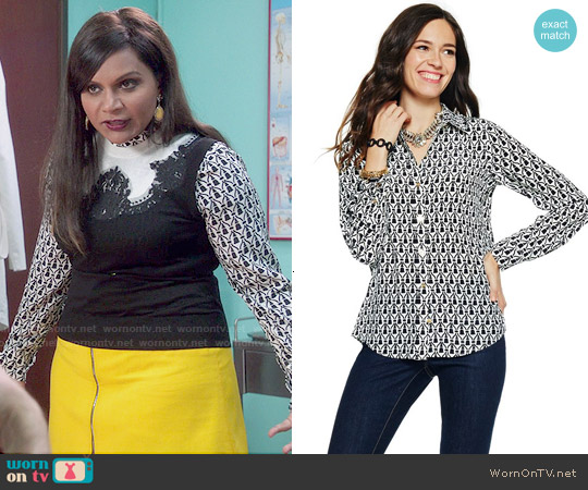 C Wonder Tassel Print Silk Shirt worn by Mindy Kaling on The Mindy Project